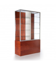 "Tecno GL117 48"" W Rectangular Display Case with Divider 19.75"" D x 81"" H (mahogany/silver frame)"
