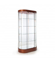 "Tecno GL122 Oval Tower Veneer Display Case 38"" W x 22"" D x 76"" H (mahogany/silver frame)"