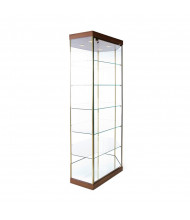 "Tecno GL4 Stretched Hexagonal Tower Display Case 35"" W x 21.75"" D x 77"" H (cherry/gold frame)"
