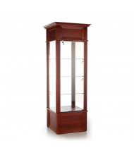 "Tecno GL601 Molded Square Tower Display Case 25.5"" W x 25.5"" D x 82"" H (Cherry Veneer with Dark Cherry Stain)"