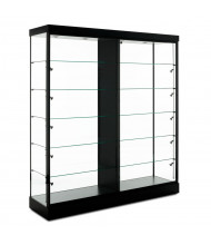 "Tecno GL609 72"" W Rectangular Display Case with Divider 19.75"" D x 79"" H (Shown in Black with Black Frame)"