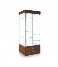 "Tecno GL615 Square Tower Display Case with Divider 30"" W x 30"" D x 76"" H (walnut/silver frame)"