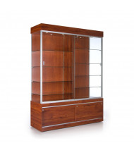 """Tecno GL616 60"""" W Rectangular Display Case with Divider 19.75"""" D x 80"""" H (mahogany/silver frame)"""