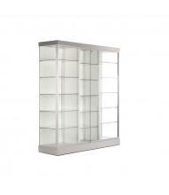 "Tecno GL617 Rectangular Display Case with Two Dividers 70.5"" W x 19.75"" D x 79"" H (white/silver frame)"