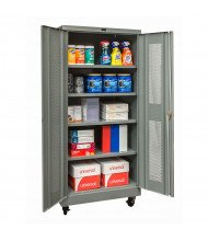 "Hallowell 400 Series 24"" D x 72"" H Ventilated Mobile Storage Cabinets (Shown in Dark Grey)"