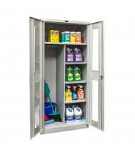 "Hallowell 800 Series 78"" H Antimicrobial Safety-View Combination Storage Cabinets, Light Grey"