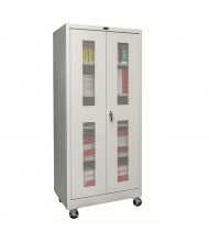 "Hallowell 800 Series 24"" D x 78"" H Antimicrobial Ventilated Mobile Storage Cabinets, Platinum Grey"