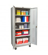 "Hallowell 800 Series 24"" D x 78"" H Antimicrobial Ventilated Mobile Storage Cabinets, Light Grey"