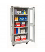 "Hallowell 800 Series 24"" D x 78"" H Antimicrobial Safety-View Mobile Storage Cabinets, Light Grey"
