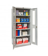 "Hallowell 800 Series 78"" H Antimicrobial Safety-View Storage Cabinets, Light Grey"