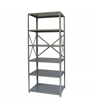 "Hallowell 6-Shelf 87"" H Hi-Tech Medium-Duty Open-Back Shelving Unit, Hallowell Grey"