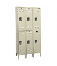 Hallowell Double Tier 3-Wide Premium Lockers (Shown in Tan)