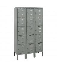 "Hallowell 5-Tier 3-Wide Premium Lockers 36"" W x 66"" H (Shown in Grey)"