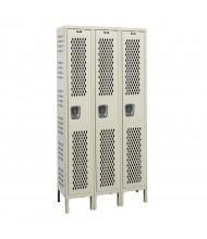 "Hallowell Single Tier 3-Wide Heavy-Duty Ventilated Lockers 78"" H (Shown in Tan)"