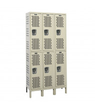 "Hallowell Double Tier 3-Wide Heavy-Duty Ventilated Lockers 78"" H (Shown in Tan)"