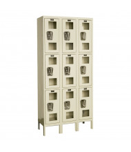 Hallowell Triple Tier 3-Wide Safety-View Lockers, Tan