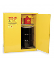 Eagle HAZ1955 Manual Two Door 2-Vertical Drums Hazardous Material Safety Cabinet, 110 Gallons, Yellow (Example of Use)