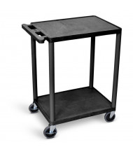 "Luxor 2-Shelf 18"" x 24"" Foam Plastic Utility Cart 300 lb Load, (Shown in Black)"