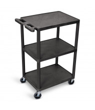 "Luxor 3-Shelf 18"" x 24"" Foam Plastic Utility Carts 400 lb Load (Shown in Black)"