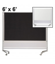 Best-Rite Porcelain/Hook & Loop 6 x 6 D.O.C. Mobile Divider Reversible (Both Sides Shown)