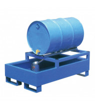 Vestil HSRB 55-Gallon Steel Drum Rack Spill Containment Basins, 600 to 2400 lb Load (Four Drum Configuration in Blue)