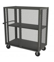 Durham Steel 2000 lb Load Mesh Double Door Security Trucks With Shelves (1-Shelf Model)