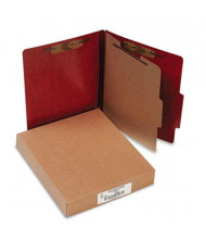 Acco 4-Section Letter Presstex 20-Point Classification Folders, Red, 10/Box