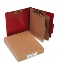 Acco 6-Section Letter Presstex 20-Point Classification Folders, Red, 10/Box