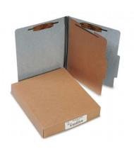 Acco 4-Section Letter Presstex 20-Point Classification Folders, Gray, 10/Box