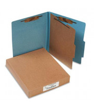 Acco 4-Section Letter Pressboard 25-Point Classification Folders, Sky Blue, 10/Box