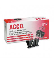 "Acco 1-1/4"" Capacity Steel Wire Medium Binder Clips, 12/Box"