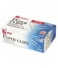 Acco No. 1 Wire Silver Smooth Finish Premium Paper Clips, 1000-Paper Clips