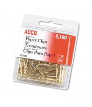 Acco No. 2 Wire Gold Tone Paper Clips, 100-Paper Clips