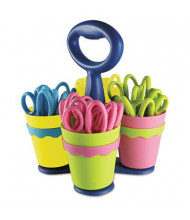 """Westcott 5"""" Pointed Microban Kids Scissors with Caddy, 24/Pack"""