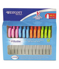 "Westcott 5"" Blunt Tip Kids Soft Handle Antimicrobial Scissors, Assorted, 12/Pack"