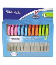 "Westcott 5"" Pointed Tip Kids Soft Handle Antimicrobial Scissors, Assorted, 12/Pack"