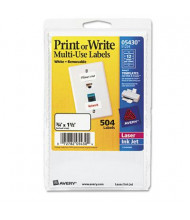 """Avery 1-1/2"""" x 3/4"""" Removable Multi-Use Labels, White, 504/Pack"""
