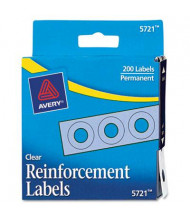 "Avery 1/4"" Diameter Dispenser Pack Hole Reinforcements, Clear, 200/Pack"