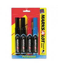 Marks-A-Lot Permanent Marker, Chisel Tip, Assorted, 4-Pack