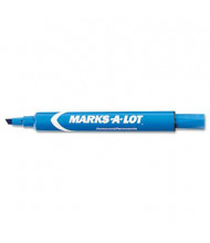 Marks-A-Lot Large Permanent Marker, Chisel Tip, Blue, 12-Pack