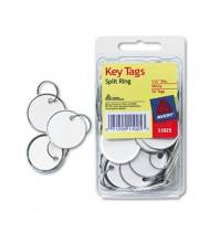 "Avery 1-1/4"" Diameter Metal Rim Key Tags, White, 50/Pack"