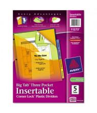 "Avery Big Tab 9"" x 11"" 5-Tab Three-Pocket Plastic Divider with Corner Lock, Assorted, 1 Set"