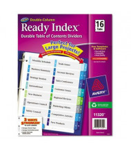 Avery Ready Index Letter 16-Tab Two-Column Numbered Table of Contents Divider, Assorted, 1 Set
