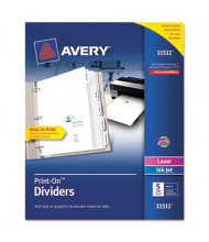 Avery Print-On 5-Tab 3-Hole Letter Dividers, White, 1/Pack