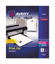 Avery Print-On 5-Tab 3-Hole Letter Dividers, White, 5 Sets/Pack