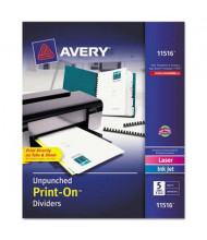 Avery Print-On 5-Tab Letter Dividers, White, 5 Sets/Pack
