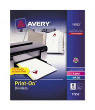Avery Print-On 8-Tab 3-Hole Letter Dividers, White, 5 Sets/Pack