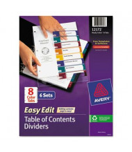 Avery Easy Edit 8-Tab Table of Content Dividers, Multicolor, 6 Sets