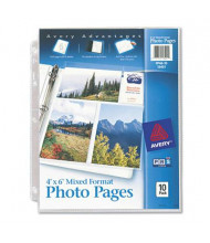 "Avery Six 4"" x 6"" 3-Hole Punched Mixed Format Photo Pages, 10/Pack"