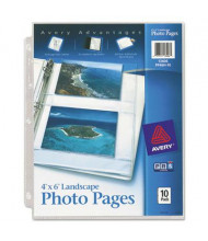 "Avery Four 4"" x 6"" 3-Hole Punched Horizontal Photo Pages, 10/Pack"